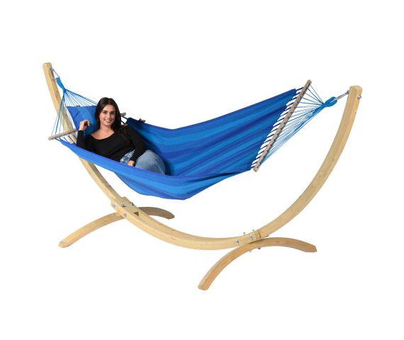 Hängemattenset Single 'Wood & Relax' Blue