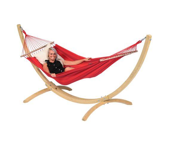 Hängemattenset Single 'Wood & Relax' Red